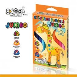 Creioane color triunghiulare JUMBO 12 culori intense