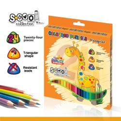 Creioane color triunghiulare 24 culori intense