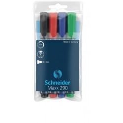Set de 4 markere whiteboard si flipchart Schneider 290